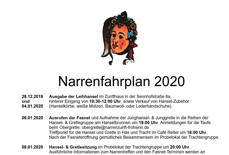 Narrenfahrplan 2020 ist online